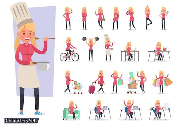 Ensemble de personnage de différentes activités de style de vie fille