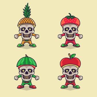 Ensemble de personnage drôle de crâne mignon portant des chapeaux de fruits