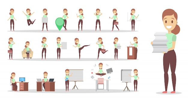 Ensemble de personnage de femme d'affaires ou d'employé de bureau avec diverses poses, émotions de visage et gestes. parler au téléphone, s'asseoir et faire une présentation. illustration vectorielle plane isolée