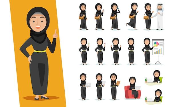 Ensemble de personnage de femme arabe avec des poses différentes sur fond blanc.