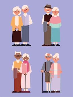Ensemble de personnage de grands-parents