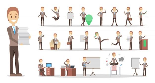 Ensemble de personnage d'homme d'affaires ou d'employé de bureau dans diverses poses, émotions et gestes de visage. travailleur. illustration vectorielle plane isolée