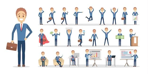 Ensemble de personnage d'homme d'affaires ou d'employé de bureau dans diverses poses, émotions et gestes de visage.