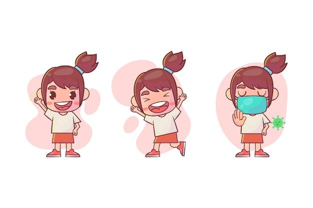 Ensemble de personnage de jolie fille avec de nombreuses expressions de geste.