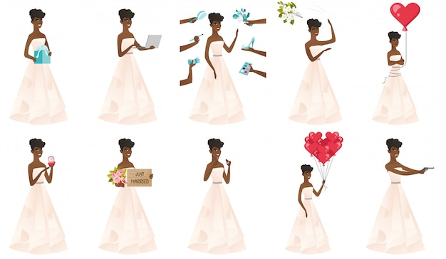Ensemble de avec le personnage de la mariée africaine.