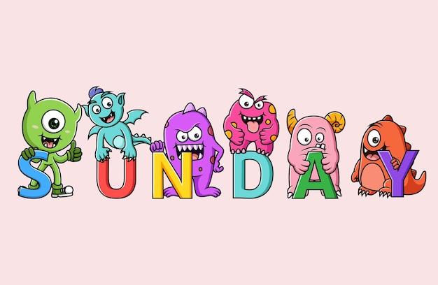 Ensemble de personnage de monstres mignons (dimanche)