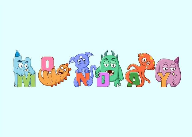 Ensemble de personnage de monstres mignons (lundi)