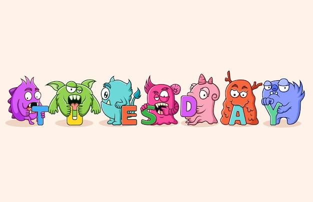 Ensemble de personnage de monstres mignons (mardi)