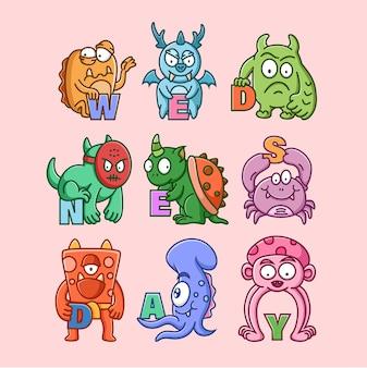 Ensemble de personnage de monstres mignons (mercredi)