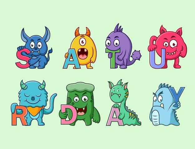 Ensemble de personnage de monstres mignons (samedi)