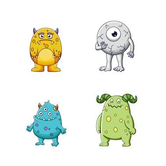 Ensemble de personnage de monstres mignons