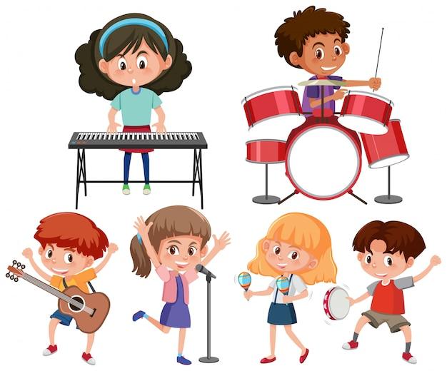 Ensemble de personnage de musicien