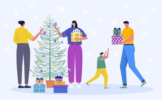 Ensemble de personnage de noël. de belles jeunes gens décorent le sapin de noël et l'enfant prend son cadeau. cadeaux sous l'arbre et les flocons de neige