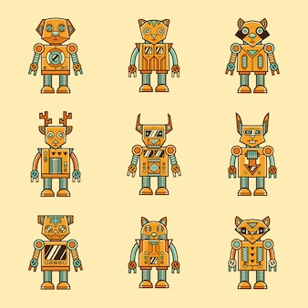 Ensemble de personnage de robot animal rétro