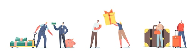 Ensemble de personnages avec de l'argent, des bagages et une boîte-cadeau de différentes tailles. hommes avec énorme tas de dollars et tirelire, femme avec petit ou grand sac, fille avec cadeau. illustration vectorielle de gens de dessin animé