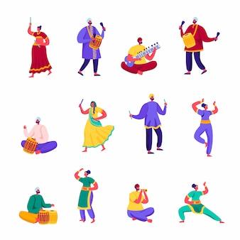 Ensemble de personnages d'artistes de rue indiens plats