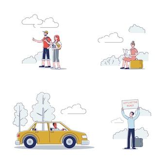 Ensemble de personnages auto-stoppeurs: jeunes hommes et femmes, voitures de randonnée sur route pendant le voyage en sac à dos.