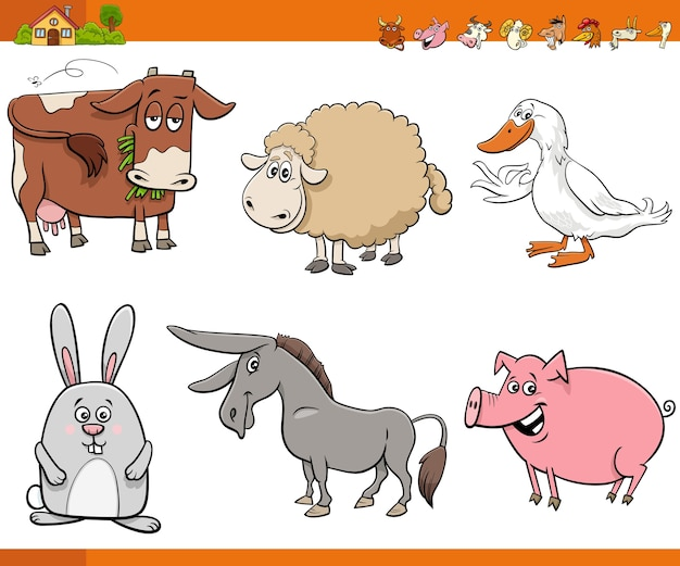 Ensemble de personnages de bande dessinée animaux de ferme