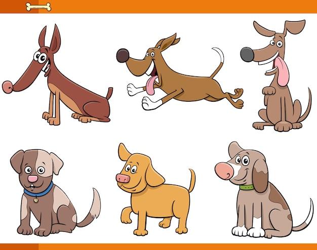 Ensemble de personnages de bandes dessinées de six chiens et chiots