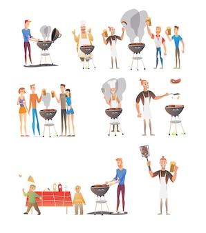 Ensemble de personnages sur le barbecue de la fête
