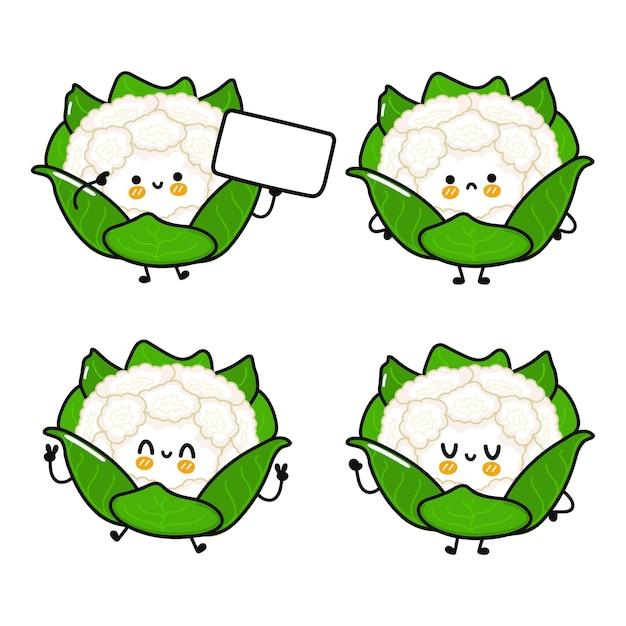 Ensemble de personnages de chou-fleur heureux mignon drôle