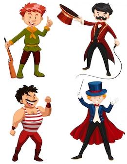 Ensemble de personnages de cirque