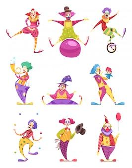 Ensemble de personnages de clowns
