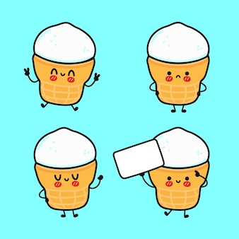 Ensemble de personnages de crème glacée heureux mignon drôle