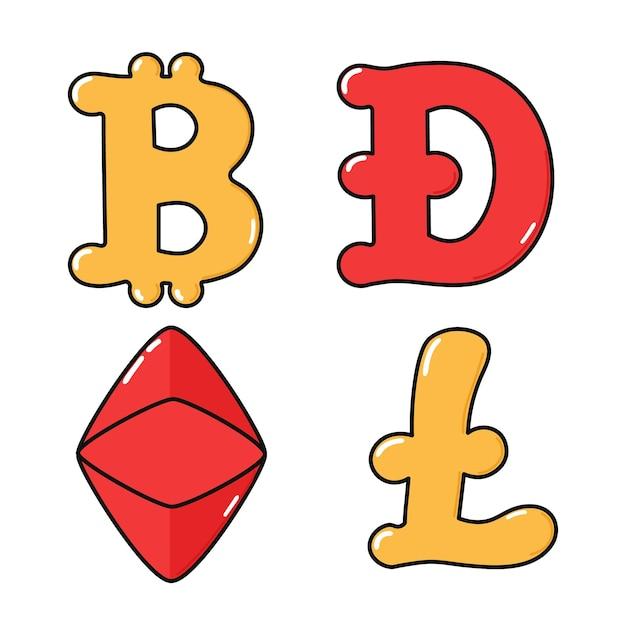 Ensemble de personnages de crypto-monnaie heureux mignon drôle