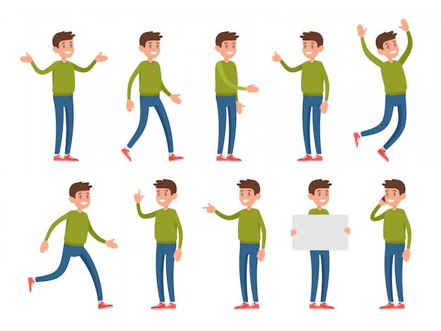 Ensemble de personnages dans différentes poses et gestes.