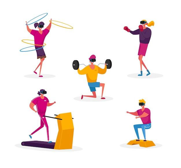 Ensemble de personnages dans des lunettes vr formation sportive dans le cyberespace de réalité virtuelle