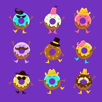 Ensemble de personnages de dessin animé humanisés avec des bras et des jambes différentes caractéristiques du visage