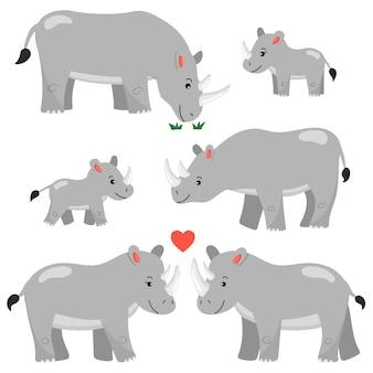 Un ensemble de personnages de dessin animé de rhinocéros. isolé. animaux africains. famille de rhinocéros.