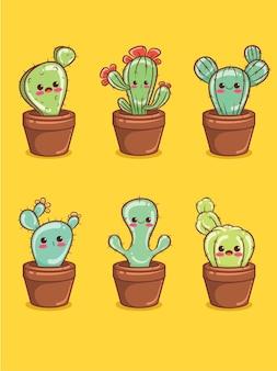 Ensemble de personnages de dessins animés de cactus mignons et illustrations.