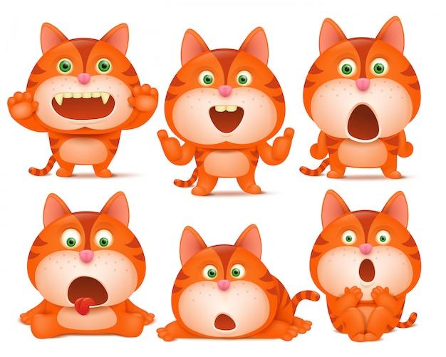 Ensemble de personnages de dessins animés chat orange mignons dans diverses poses.