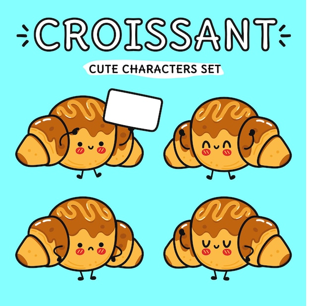 Ensemble de personnages de dessins animés de croissants au chocolat heureux