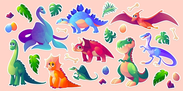 Ensemble de personnages de dessins animés de dinosaures autocollantpack dino