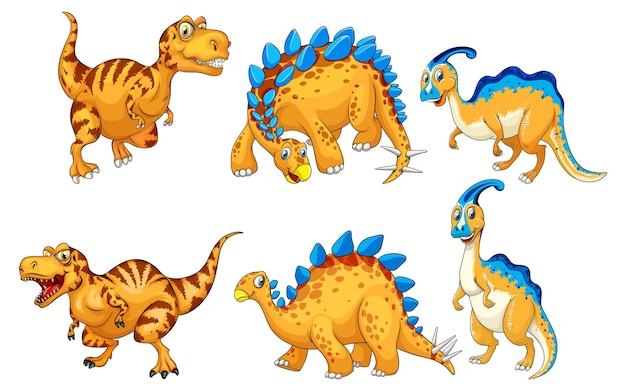Ensemble de personnages de dessins animés de dinosaures orange