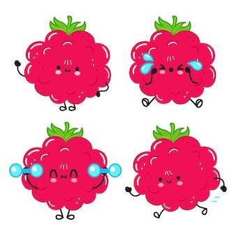 Ensemble de personnages de dessins animés drôles de framboises heureuses mignonnes