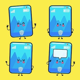 Ensemble de personnages de dessins animés drôles mignons heureux smartphone