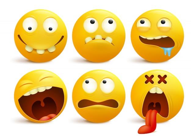 Ensemble de personnages de dessins animés d'émoticône visage souriant jaune.