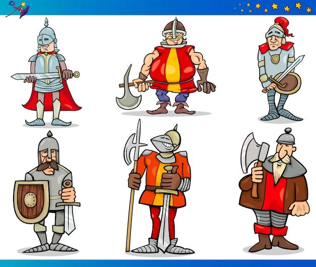 Ensemble de personnages de dessins animés fantasy knights