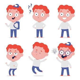 Ensemble de personnages de dessins animés de garçons mignons vectoriels isolés.