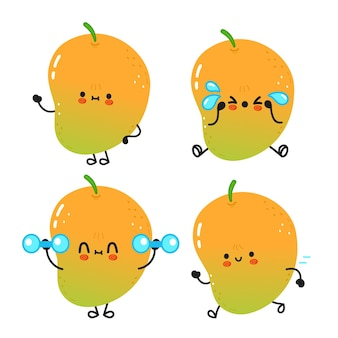 Ensemble de personnages de dessins animés de mangue heureux mignon drôle
