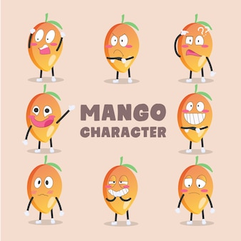 Ensemble de personnages de dessins animés de mangue
