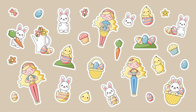 Ensemble de personnages de dessins animés de pâques kawaii mignons. lapin de pâques, poussin, fleur, fille et panier d'oeufs de pâques. belle illustration vectorielle kawaii pour carte de voeux, affiche, autocollant.