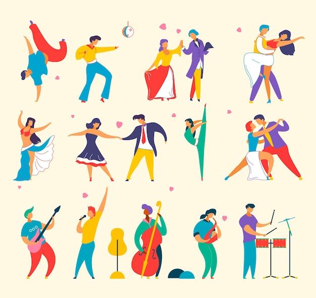 Ensemble de personnages de dessins animés plats jouant de la musique, dansant, homme femme
