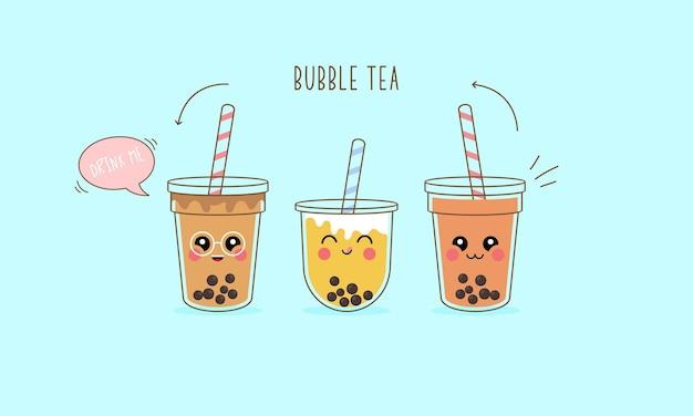 Ensemble de personnages de dessins animés de thé au lait boba mignon