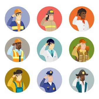 Ensemble de personnages de différentes professions.