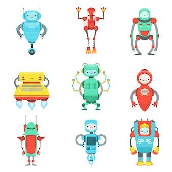 Ensemble de personnages différents robots fantastiques mignons